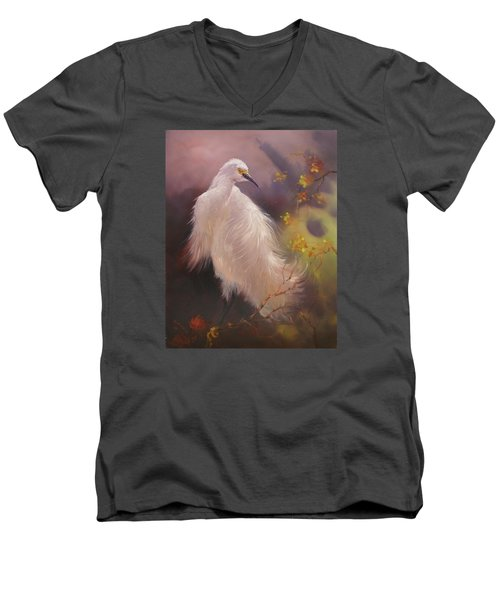 Men's V-Neck T-Shirt featuring the painting White Hunter by Donelli  DiMaria