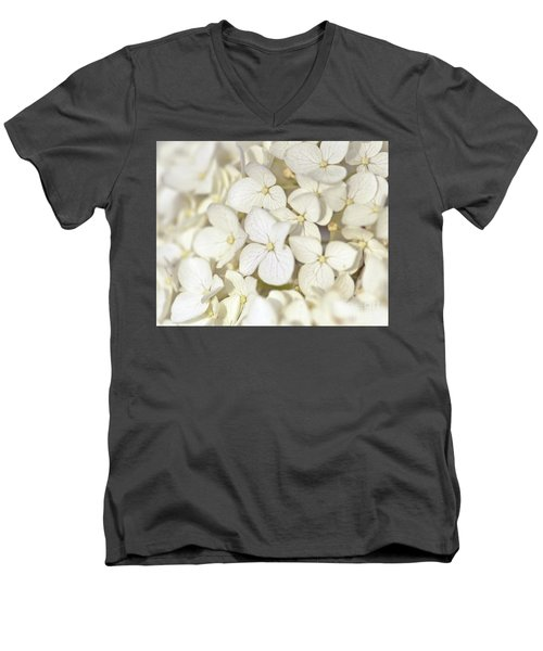 Men's V-Neck T-Shirt featuring the photograph White Hydrangea by Kerri Farley