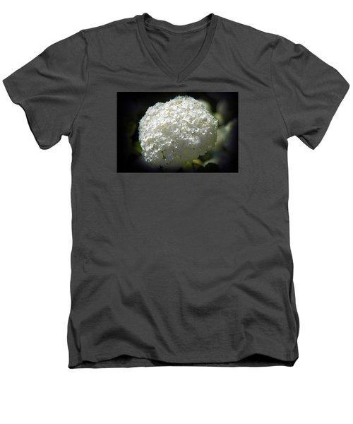 White Hydrangea Men's V-Neck T-Shirt