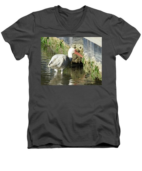 Men's V-Neck T-Shirt featuring the photograph White Ibis Headed Home by George Randy Bass