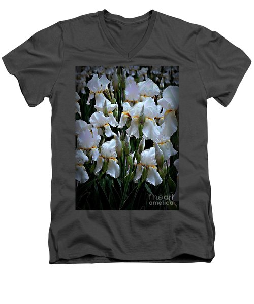 White Iris Garden Men's V-Neck T-Shirt by Sherry Hallemeier
