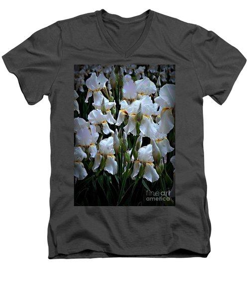 White Iris Garden Men's V-Neck T-Shirt