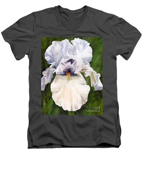 Men's V-Neck T-Shirt featuring the painting White Iris by Laurie Rohner