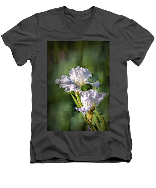 White Iris On Abstract Background #g4 Men's V-Neck T-Shirt