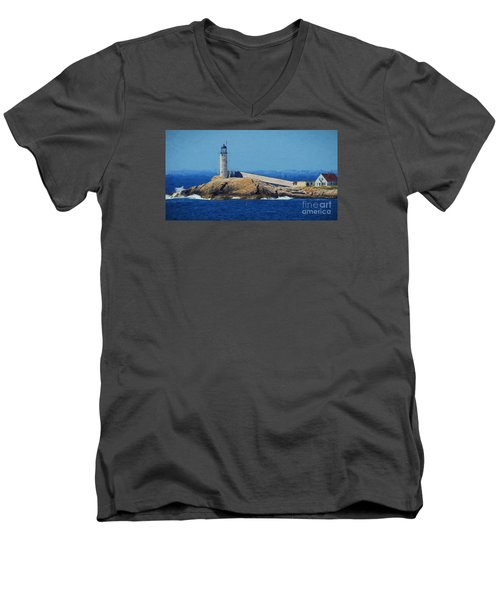 Men's V-Neck T-Shirt featuring the painting White Island Lighthouse by Mim White