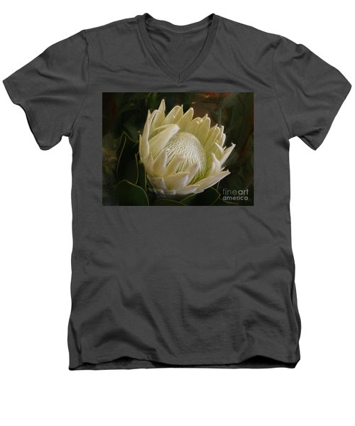 Men's V-Neck T-Shirt featuring the photograph White King Protea By Kaye Menner by Kaye Menner