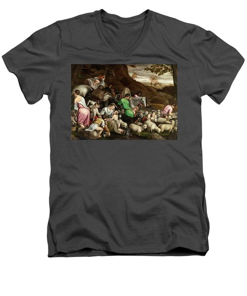 Men's V-Neck T-Shirt featuring the photograph White Lambs by Munir Alawi