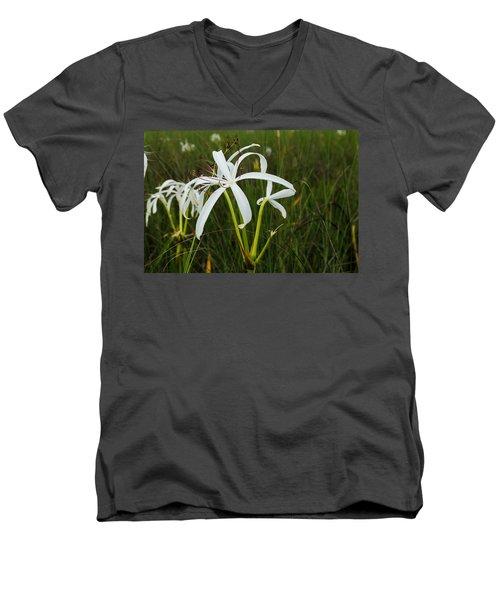 White Lilies In Bloom Men's V-Neck T-Shirt