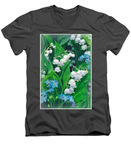 White Lilies Of The Valley Men's V-Neck T-Shirt