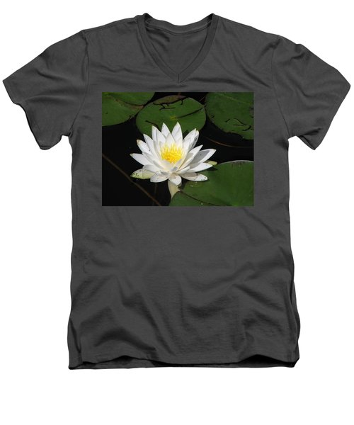 White Lily Pad Men's V-Neck T-Shirt
