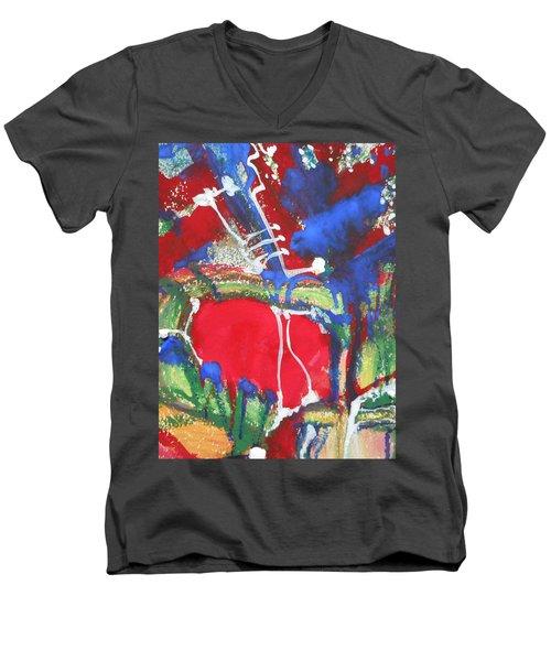 White Lines And Dots Men's V-Neck T-Shirt