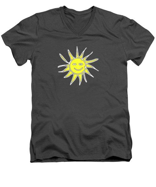 white lines on transparent background - detailv3-10.3.Islands-1-detail-Sun-with-smile Men's V-Neck T-Shirt