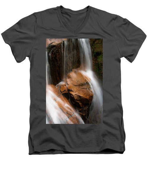 Men's V-Neck T-Shirt featuring the photograph White Mountains Waterfall by Jason Moynihan