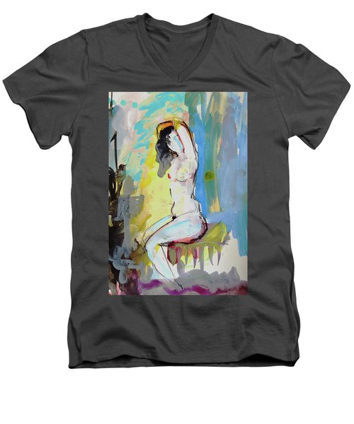 White Nude And Bird Men's V-Neck T-Shirt