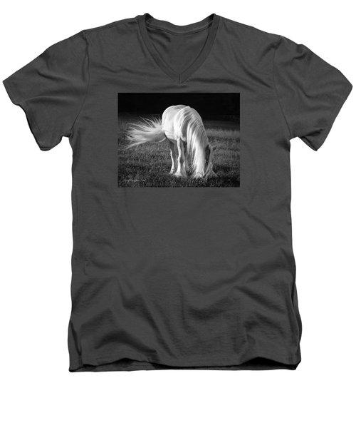 White On Black And White Men's V-Neck T-Shirt
