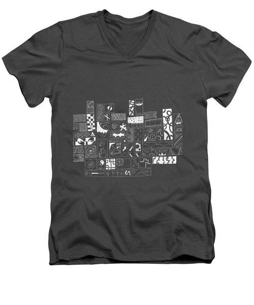 White On Black Abstract Art Men's V-Neck T-Shirt by Edward Fielding