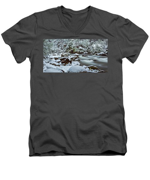 White On Green Men's V-Neck T-Shirt by Mark Lucey