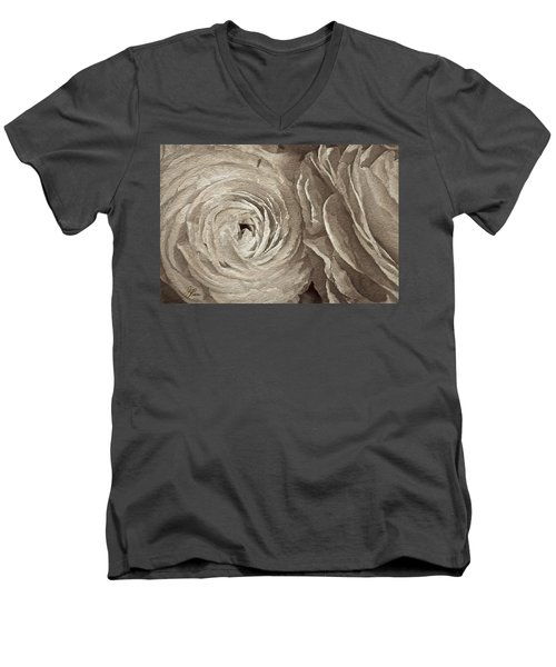 Men's V-Neck T-Shirt featuring the painting White On White Rose by Joan Reese
