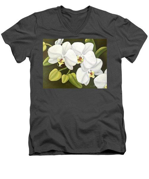 White Orchid Men's V-Neck T-Shirt by Inese Poga
