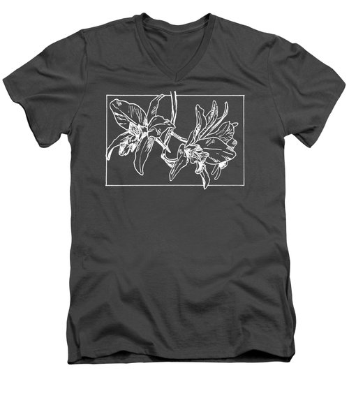 White Orchid On Transparent Background Men's V-Neck T-Shirt