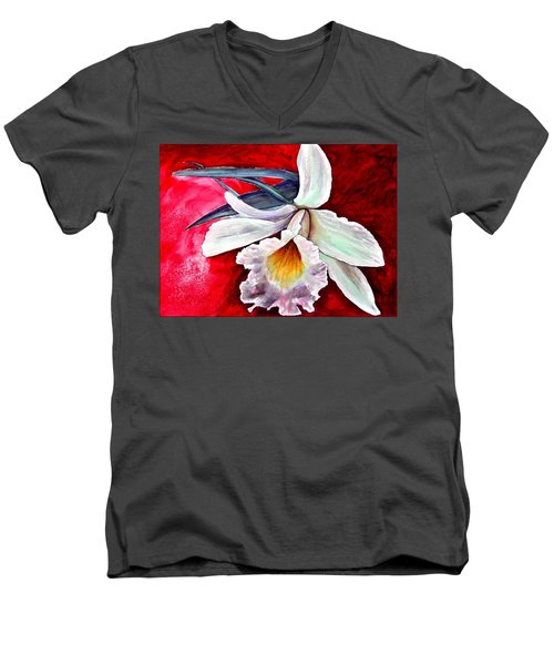 Men's V-Neck T-Shirt featuring the painting White Orchid by Ryn Shell
