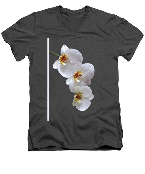 White Orchids On Terracotta Vdertical Men's V-Neck T-Shirt by Gill Billington