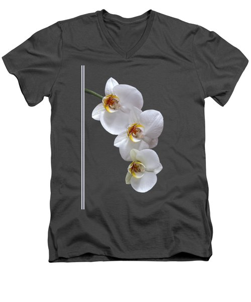 White Orchids On Terracotta Vdertical Men's V-Neck T-Shirt