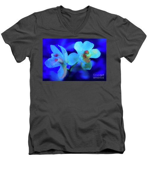 White Painted Orchids Men's V-Neck T-Shirt by Darleen Stry