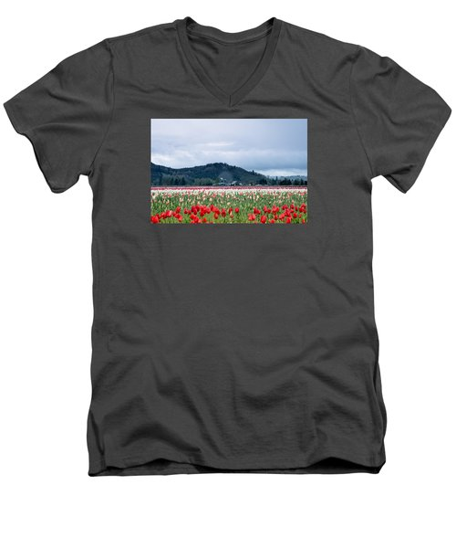 White Pass Highway With Tulips Men's V-Neck T-Shirt by E Faithe Lester