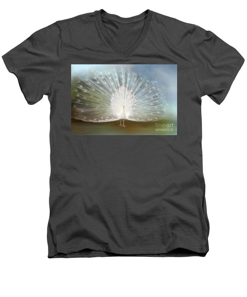 Men's V-Neck T-Shirt featuring the photograph White Peacock In All His Glory by Bonnie Barry
