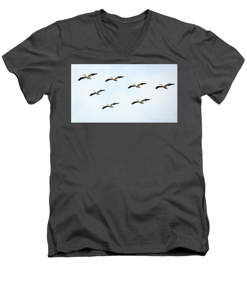 Men's V-Neck T-Shirt featuring the photograph White Pelican Flyby by Ricky L Jones