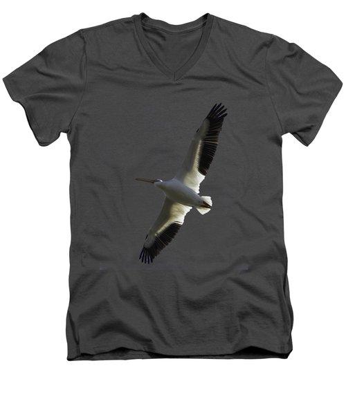White Pelican In Flight Transparency Men's V-Neck T-Shirt
