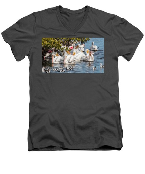 White Pelicans And Others Men's V-Neck T-Shirt