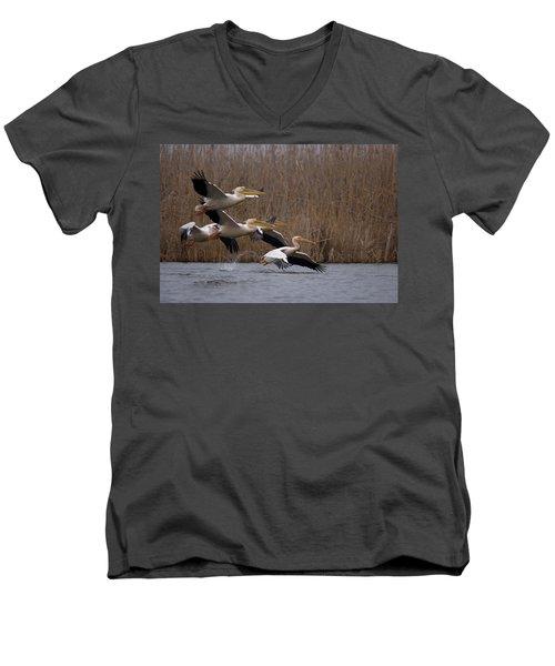 White Pelicans In Flight Over Lake Men's V-Neck T-Shirt