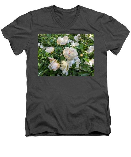White Peonies In North Carolina Men's V-Neck T-Shirt