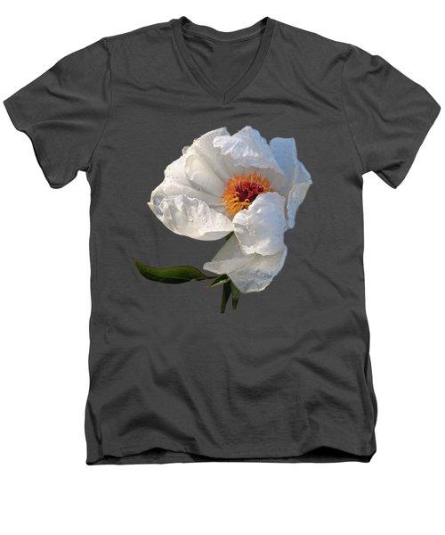 White Peony After The Rain Men's V-Neck T-Shirt by Gill Billington