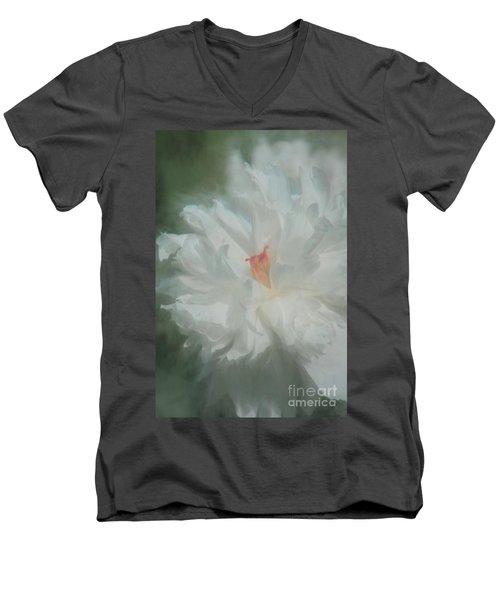 Men's V-Neck T-Shirt featuring the photograph White Peony by Benanne Stiens