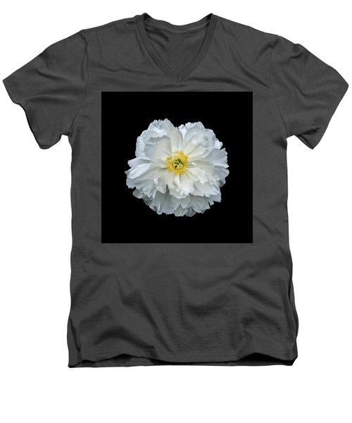 White Peony Men's V-Neck T-Shirt by Charles Harden