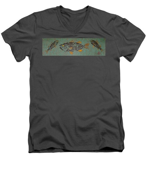 White  Perch With Yellow Perch Men's V-Neck T-Shirt