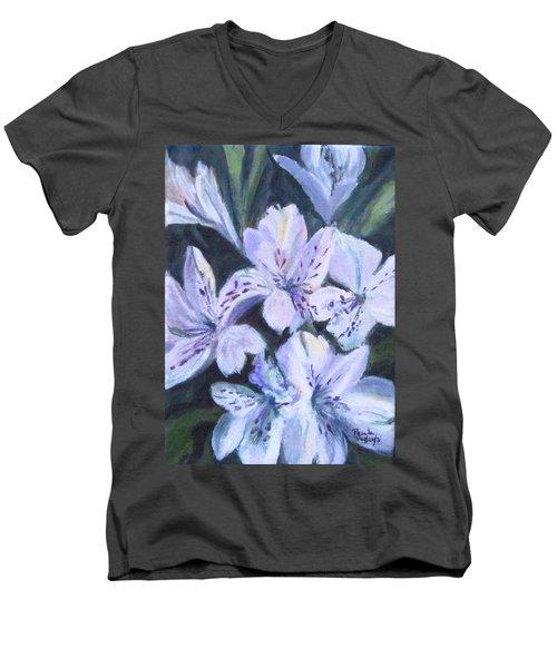 White Peruvian Lily Men's V-Neck T-Shirt