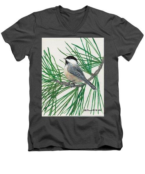 White Pine Chickadee Men's V-Neck T-Shirt by Kathleen McDermott