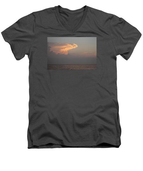 Men's V-Neck T-Shirt featuring the photograph White Pink Clouds by Robert Banach