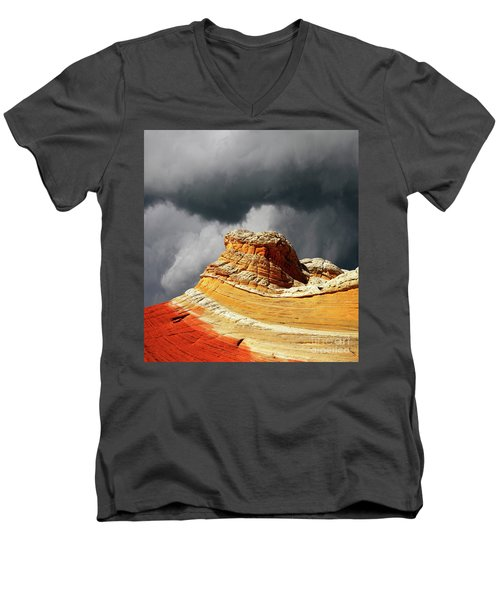 Men's V-Neck T-Shirt featuring the photograph White Pocket 35 by Bob Christopher