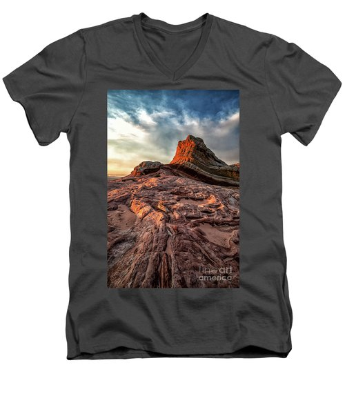 White Pocket Inside Vermillion Cliffs National Monument Men's V-Neck T-Shirt