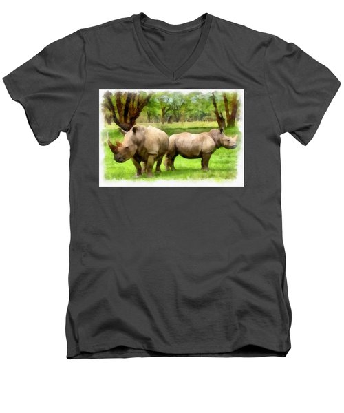 White Rhinos Men's V-Neck T-Shirt