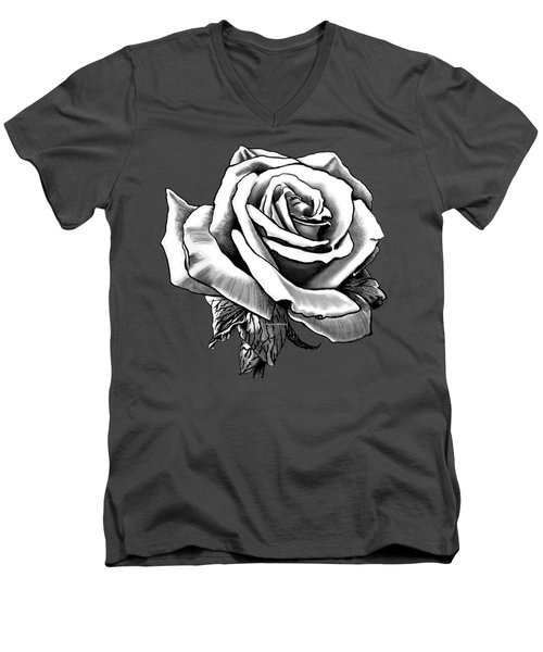 White Rose For The Lady Men's V-Neck T-Shirt
