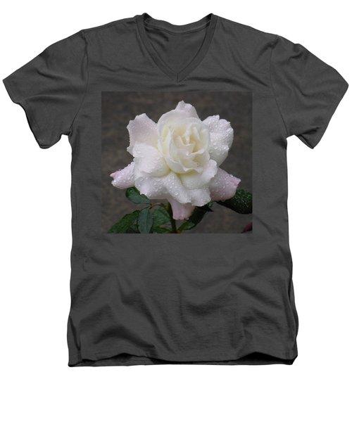 White Rose In Rain - 3 Men's V-Neck T-Shirt