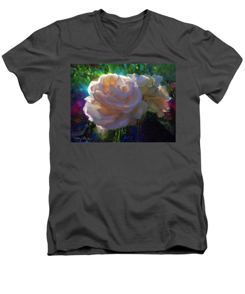 White Roses In The Garden - Backlit Flowers - Summer Rose Men's V-Neck T-Shirt
