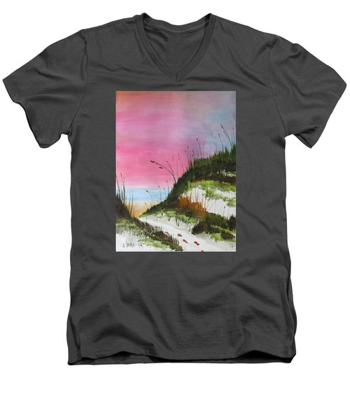 Men's V-Neck T-Shirt featuring the painting White Sandy Beach by Jack G Brauer