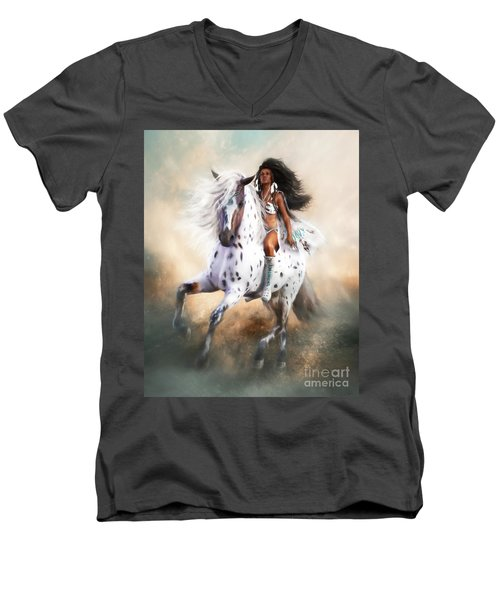 Men's V-Neck T-Shirt featuring the digital art White Storm by Shanina Conway